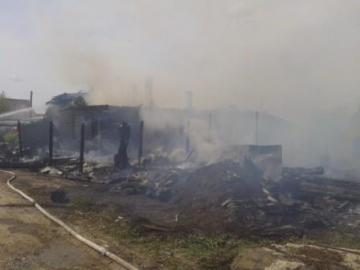 Пожар в д. Кузино на улице Зеленая